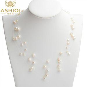"""9-10 mm naturel Baroque Blanc Argenté Eau Douce Collier De Perles 18/"""""""