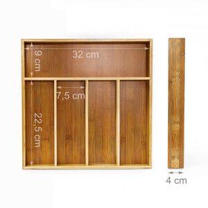 RANGE COUVERTS Range couverts avec 5 compartiments en bambou 35 c