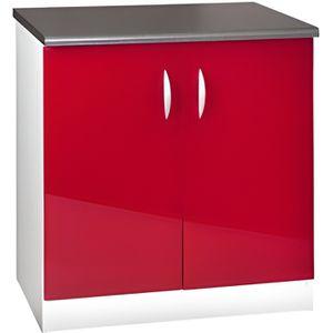 ELEMENTS BAS Meuble cuisine bas 80 cm 2 portes OXANE rouge