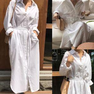 ROBE Femmes Shirt manches longues Lapel Robe Bandage Pu