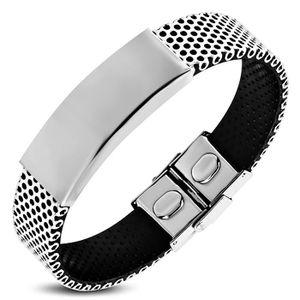 BRACELET - GOURMETTE Zense - Bracelet homme en acier et caoutchouc noir
