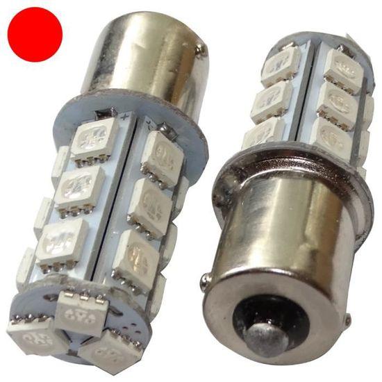AERZETIX 2X Ampoule 24V P21W R10W R5W 9LED Rouge pour Camion Semi-remorque Porte de Garage Portail