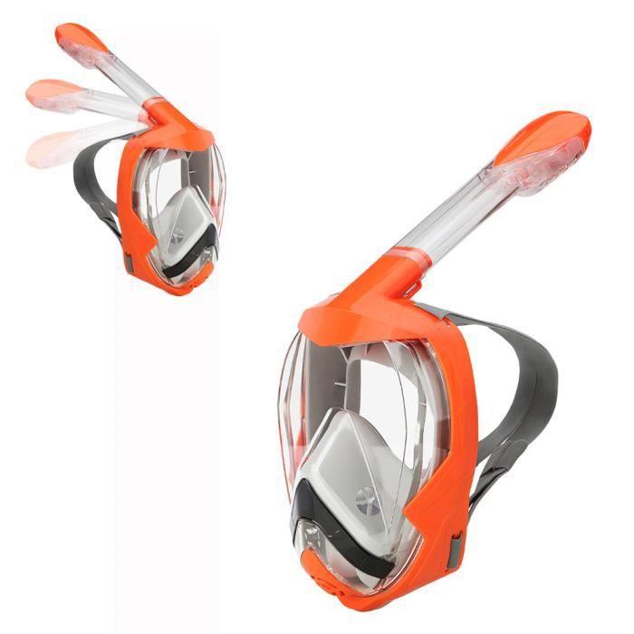Masque de plongée sec complet pour adulte équipement de plongée tube complet 180 degrés Orange L - XL