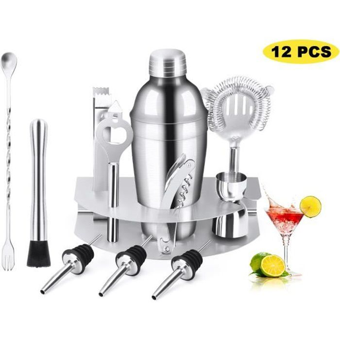 12Pcs Shaker à Cocktail Professionnel, Kit de Cocktail Shaker, Outils de Barman Cocktail avec Support en Acier Inoxydable - 550ml
