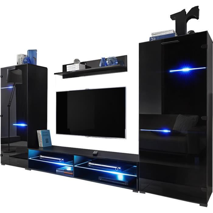 Extreme Furniture Meuble TV Mural Modern Black - LEDs multicolores avec télécommande - Noir Brillant & Noir - Façades en Brillant -