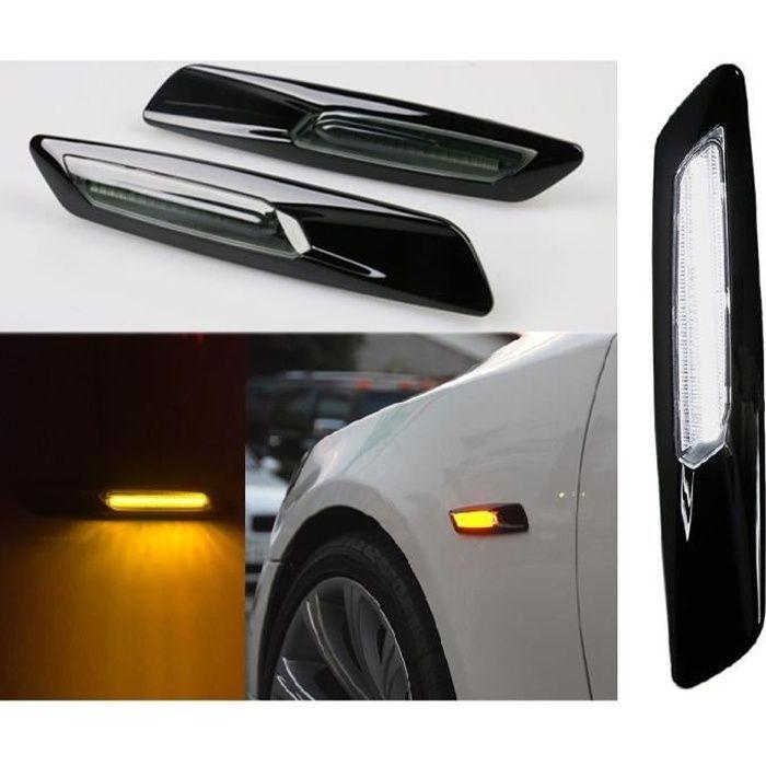 2 CLIGNOTANT REPETITEUR + DRL NOIR A LED LOOK F10 POUR BMW SERIE 1 3 5 E90 E92 E60 E81 E87