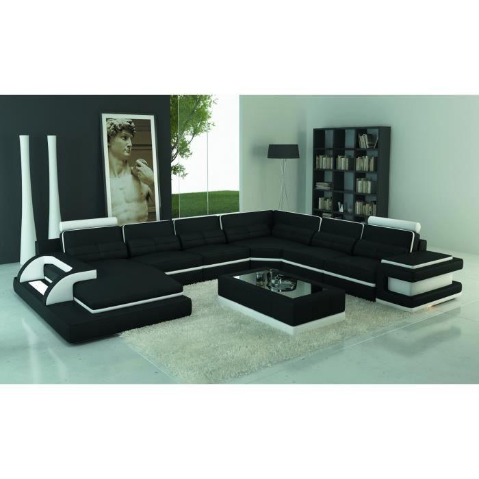 RANNA PANORAMIQUE - Canapé d'angle panoramique design en cuir noir et blanc avec lumière intégrée