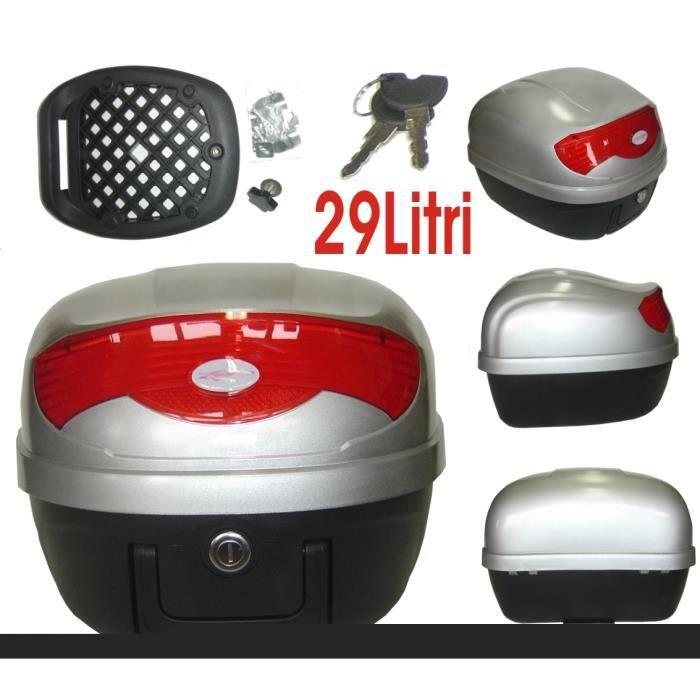 Top Case Valise Bagage Moto Scooter Universel 29 lt Fermeture Clé NO Givi argent
