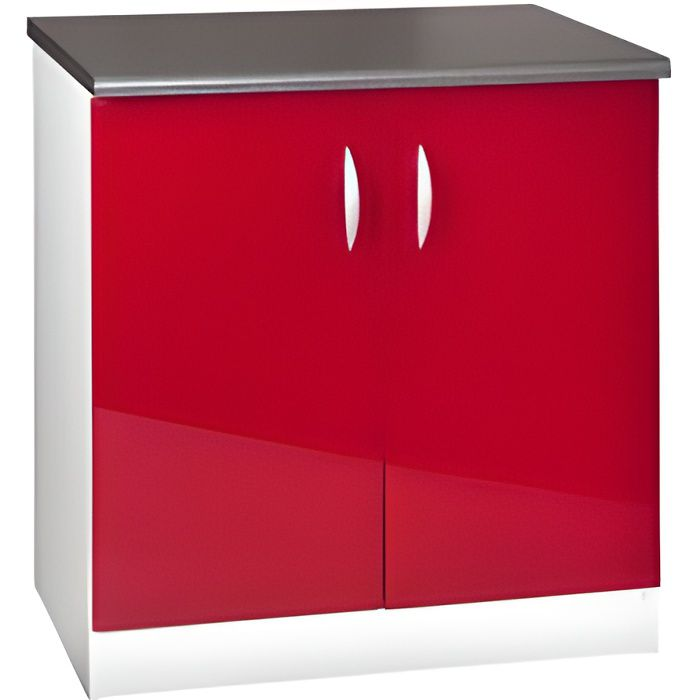 Meuble cuisine bas 80 cm 2 portes OXANE rouge