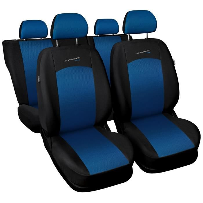 Housse De Siège Voiture Auto pour Volkswagen Passat B5 Fl B6 B7 B8 Sportline Bleu Tissu de revetement/airmesh avec mousse set