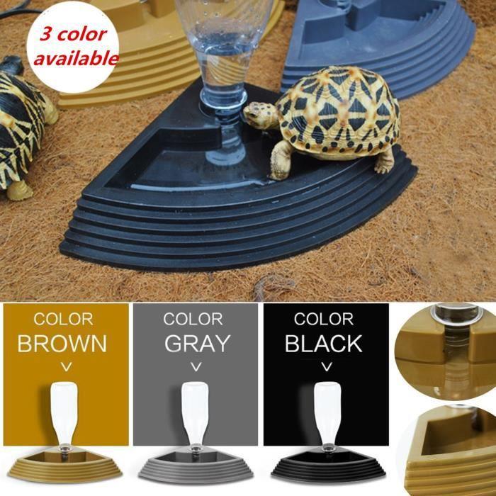 Bol,450ml tortues pour animaux de compagnie eau potable plat bol mangeoire tortue Reptiles chat chien Pot d'eau - Type Brown