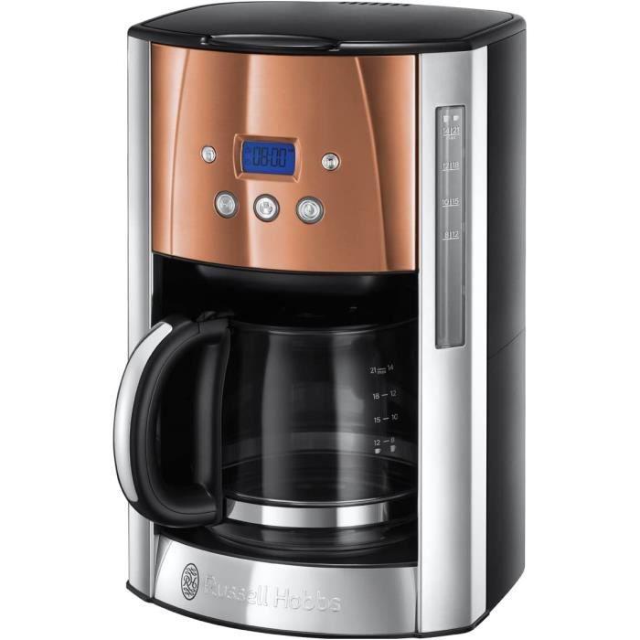 Russel Hobbs Machine à Café, Cafetière Filtre 1,8L Inox, 12 Tasses, Programmable, Auto-Nettoyante - Cuivre 24320-56 Luna