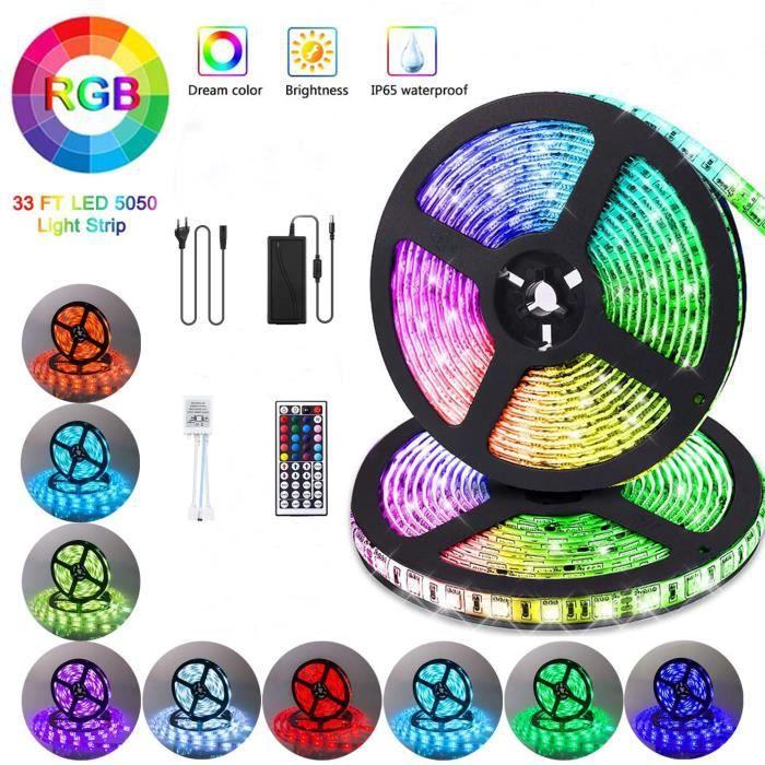 LED Ruban 10M Ruban LED 5050 RGB avec télécommande 44 touches 33FT Lumière d'Ambiance Décoration pour Exterieur,Chambre,Carnaval