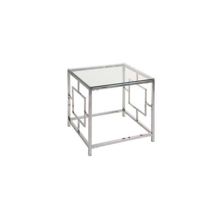 Table d'appoint plateau verre et acier CRISTAL