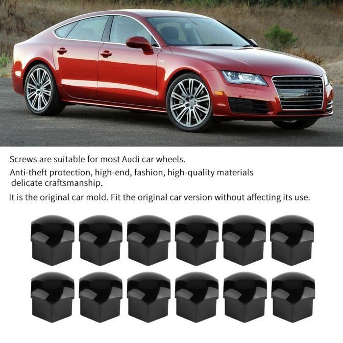 20pcs 17mm écrou roue voiture protection vis auto moyeu anti-vol couvercle Audi noir-CWU