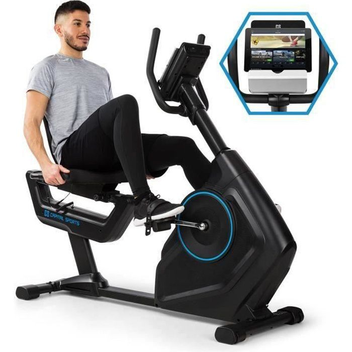 CAPITAL SPORTS Evo Deluxe Vélo d´appartement cardio silencieux avec ordinateur & interface Bluetooth - Inertie 20 kg - charge 120 kg