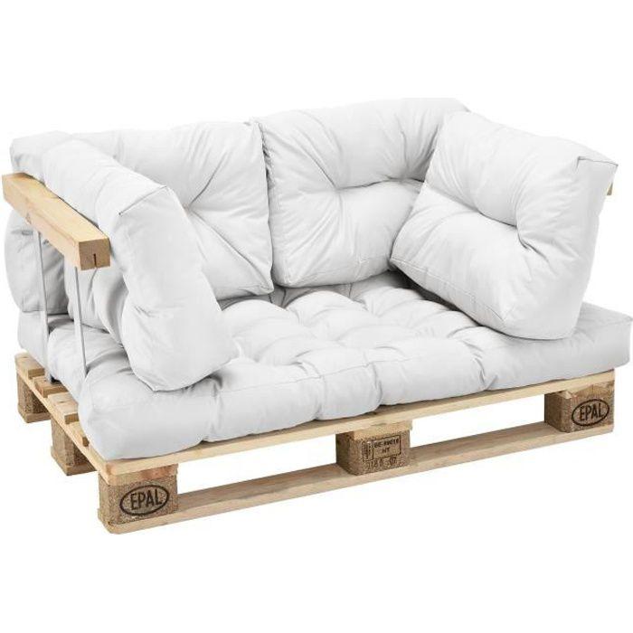 Coussins pour palettes - kit de 5 - coussin de siège + Coussins de dossier blanc Canapé de palettes In-Outdoor