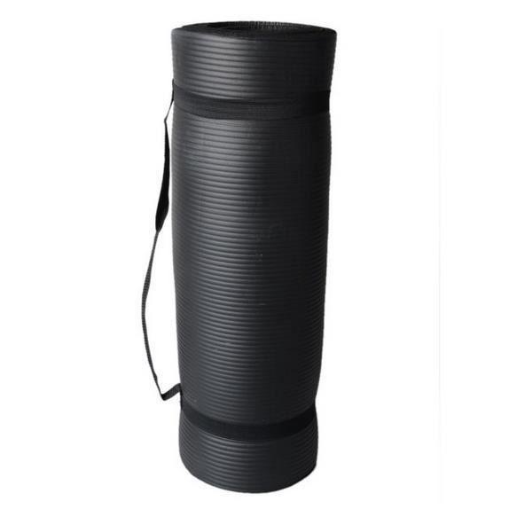 Tapis de Yoga Pilate Course avec Sangle d'exercice Élastique 183cm * 61cm - Noir