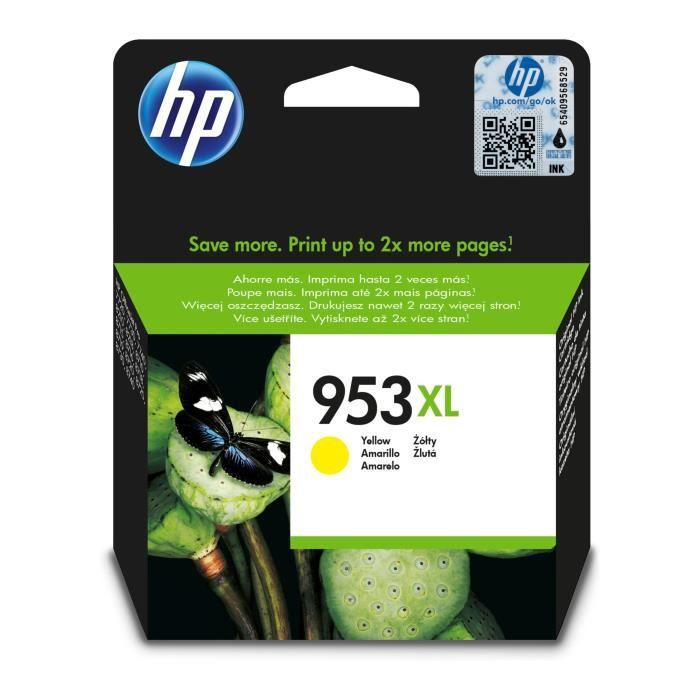 HP 953XL cartouche d'encre jaune grande capacité authentique (F6U18AE)