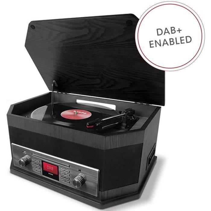 ION Audio Octave LP - Chaîne Hi-Fi 8-en-1 Style Rétro avec Bluetooth, Platine Vinyle 3 Vitesses, Lecteurs CD-Cassette, Lecture-En