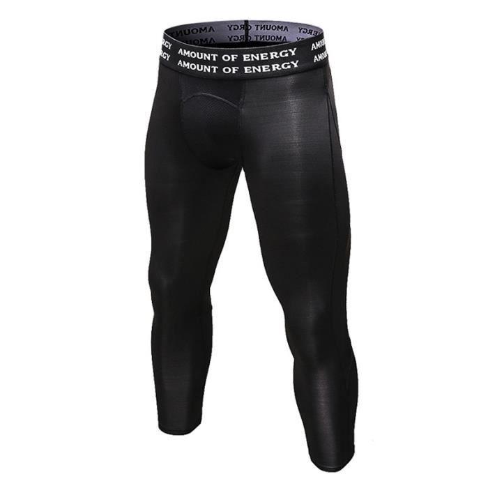 Pantalon de Compression 3/4 Homme Sport Moulant Stretch Séchage Rapide