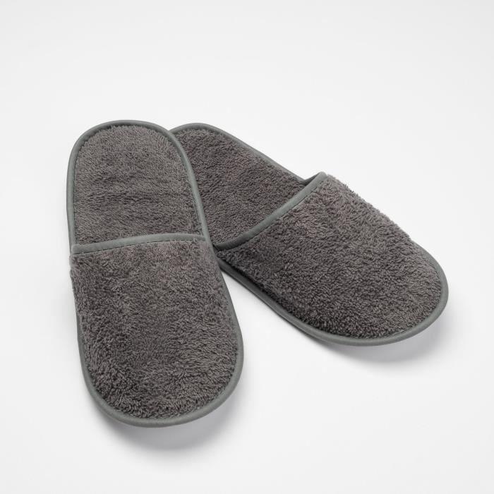 LINANDELLE - Chausson de bain en coton éponge imperméable mixte SPA - Gris foncé - Adulte Homme