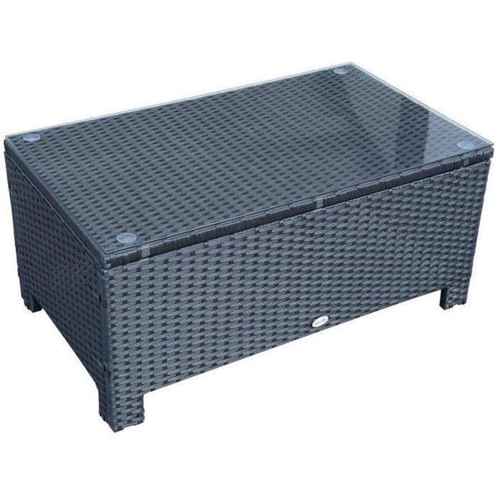 Table basse de jardin plateau verre trempé 5 mm rotin tressé 85 x 50 x 39cm Max. 50 kg marron 85x50x39cm Noir