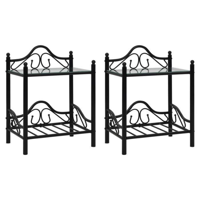 Lot de 2 Tables de chevet Table de nuit Scandinave Acier et verre trempé 45x30,5x60 cm Noir