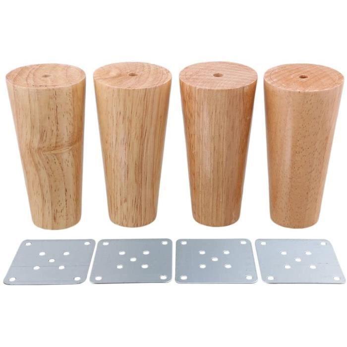 4x Pieds de Meubles en Bois 10cm Massif avec Plaque de Montage et Vis pour Canapé, TV, Lit, Table à Manger