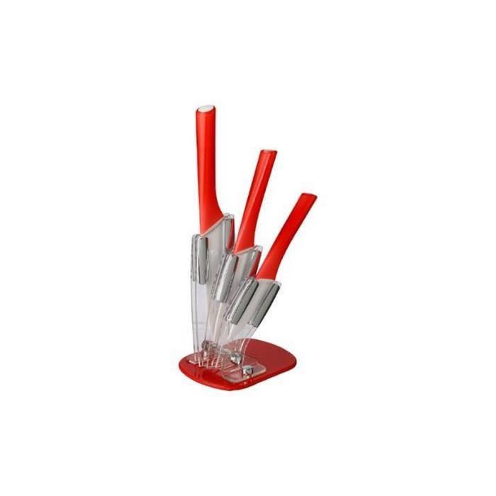 Set 3 couteaux céramique + support rouge