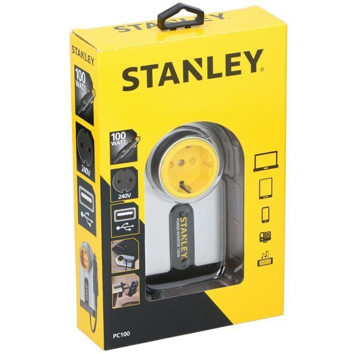 Onduleur de voiture 12V DC 240V AC 100W avec sortie USB Stanley