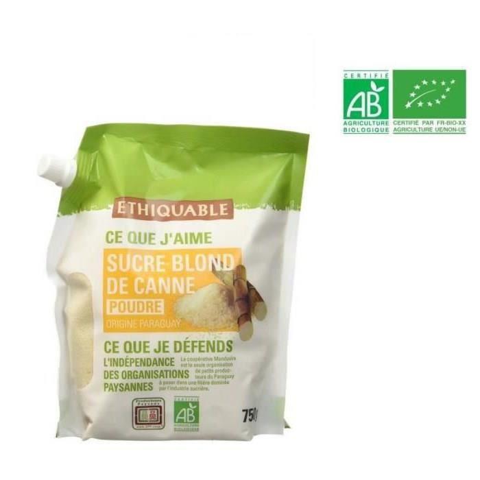 ETHIQUABLE Sucre Blond de Canne en Poudre Bio - 750 g