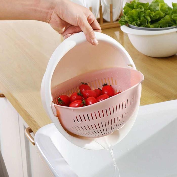 Fruits Bol d/égouttoir de Cuisine-Pwtchenty Panier de Vidange de Lavage Passoire de Cuisine Plastique Double Couche de riz L/égumes