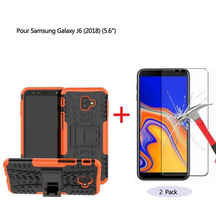 Coque Samsung Galaxy J6 2018 Orange Coque 2 en 1 S