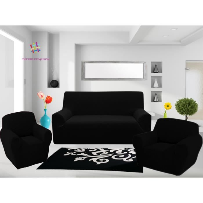 1 housse de canap 3 places 1 housse de canap 2 places 1 housse de fauteuil noir. Black Bedroom Furniture Sets. Home Design Ideas