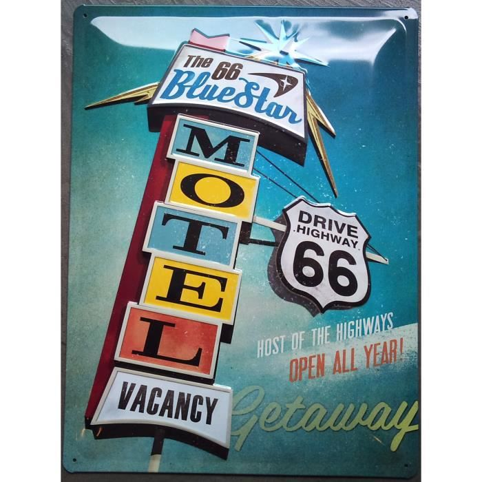 Plaque pub bomb motel route 66 usa deco diner achat for Decoration murale usa
