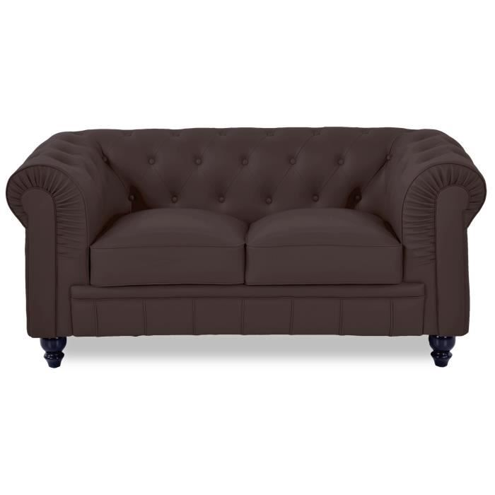 Canape chesterfield tissu achat vente canape for Canape 2 places marron