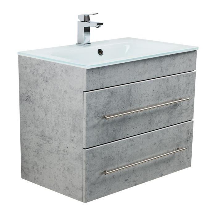 Meuble salle de bain VITRO 750 avec vasque en verre en aspect béton