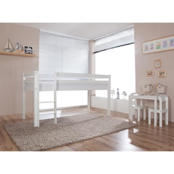 lit sur lev pour enfant coloris blanc achat vente lit. Black Bedroom Furniture Sets. Home Design Ideas