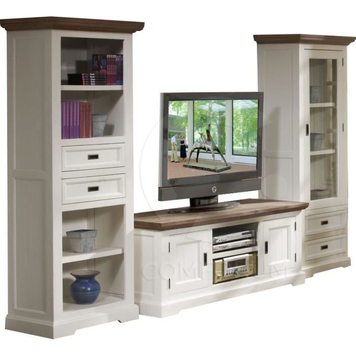 ensemble meuble tv biblioth que et vitrine en acacia massif coloris blanc et havana achat. Black Bedroom Furniture Sets. Home Design Ideas