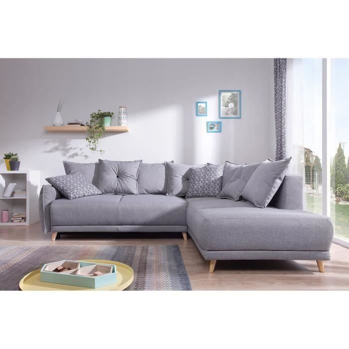 lena canap scandinave d angle droit gris clair 236x90x203cm achat vente canap sofa. Black Bedroom Furniture Sets. Home Design Ideas