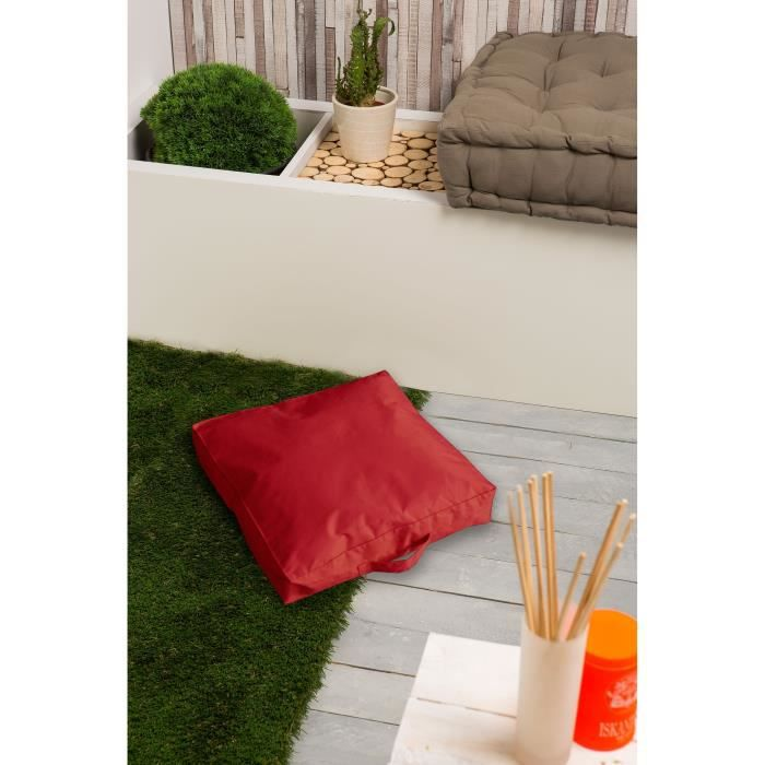 pouf poire moorea coussin de sol imperm able rouge 40x40x8cm. Black Bedroom Furniture Sets. Home Design Ideas