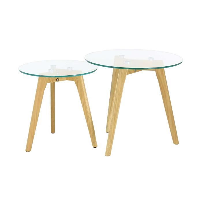 Tables basses gigognes ch ne et verre scandie achat for Table scandinave verre