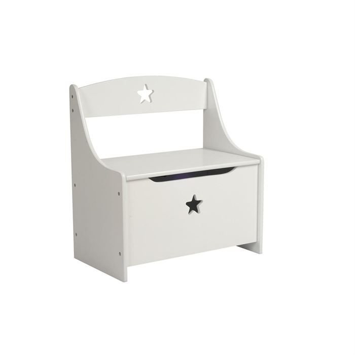 coffre jouets banc enfant etoile blanc achat vente. Black Bedroom Furniture Sets. Home Design Ideas