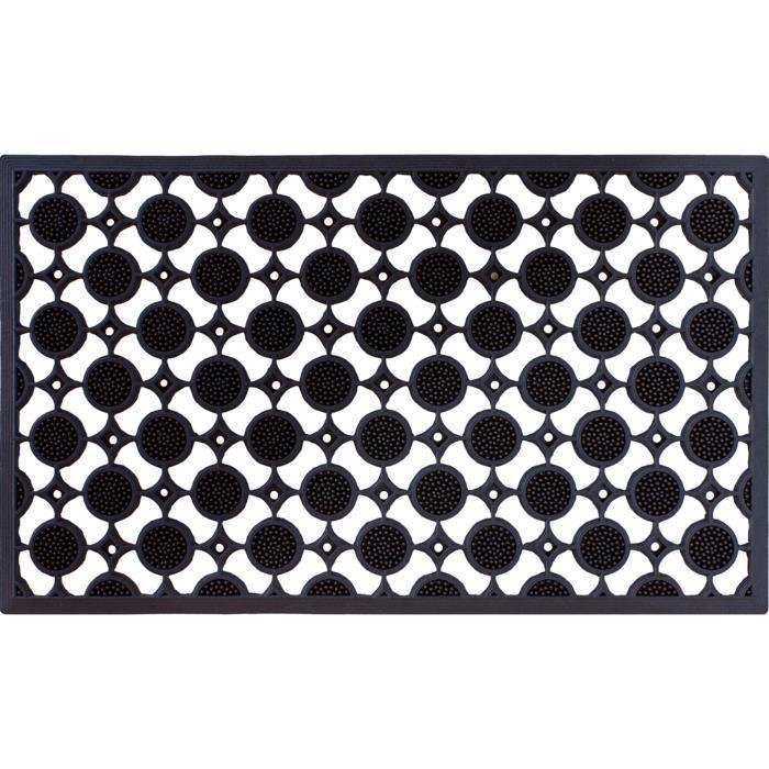 Tapis Gratte Pieds Extérieur En Caoutchouc Coloris Noir Et Blanc Dim 45 X 75 Cm