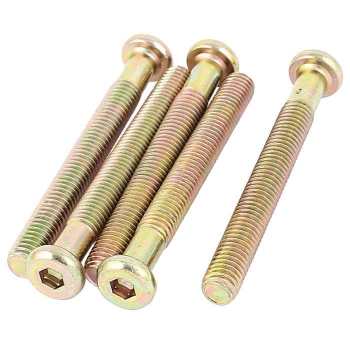 Vis À Tête M6X80mm Fileté À Six Pans Creux Boulons Bronze Tone 5Pcs