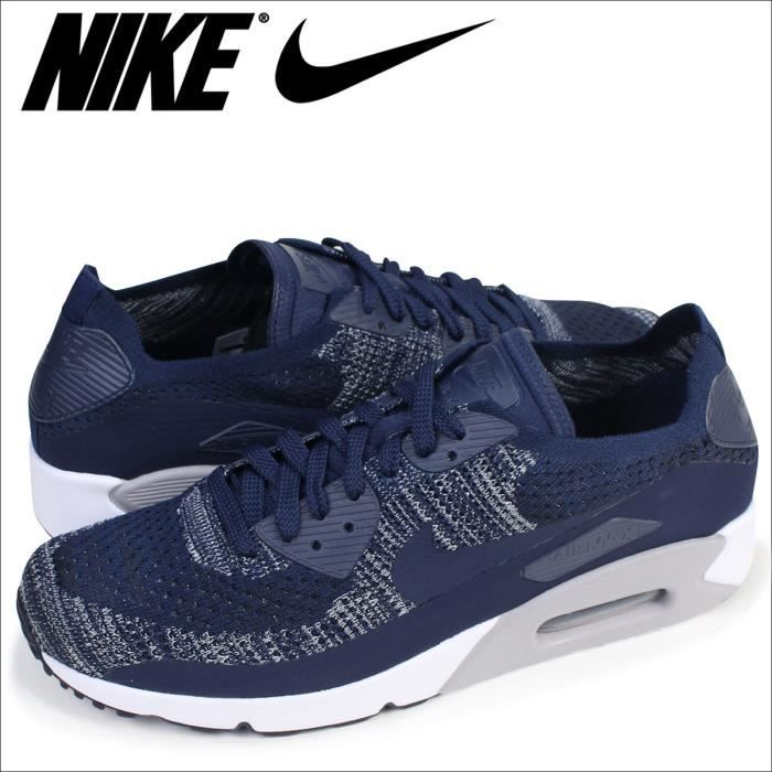 new style 63da7 2fad1 Baskets Nike Air Max 90 Ultra 2.0 Flyknit bleues marine 875943-401.