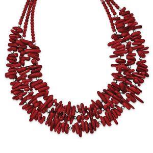 """19/"""" 4 Brins Pearl Peridot Agate Corail Collier"""