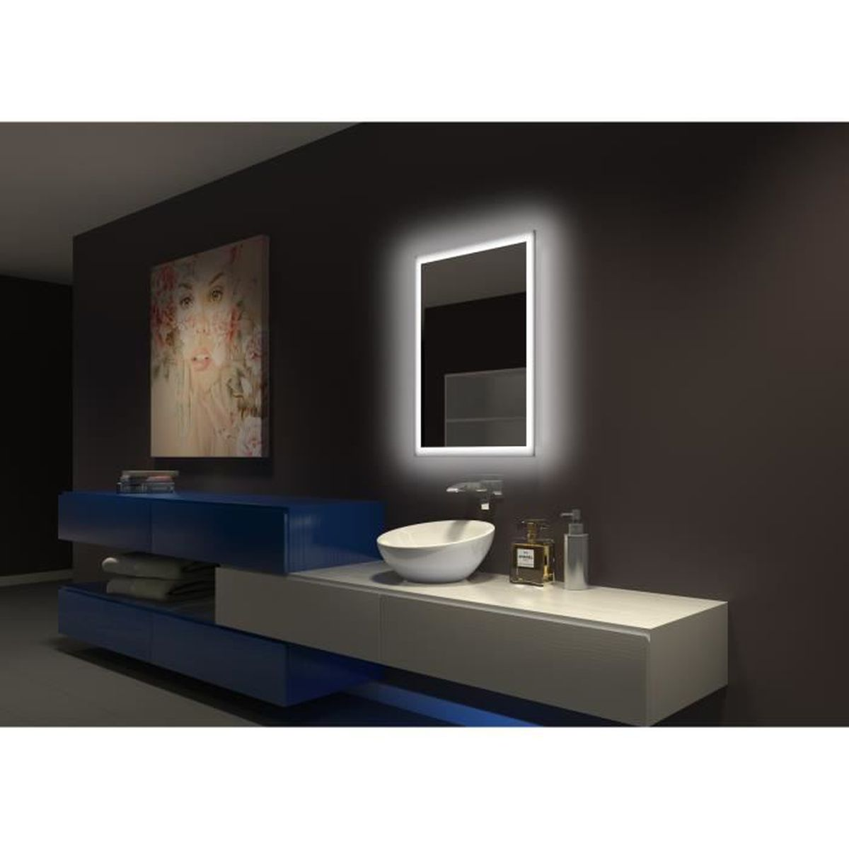 miroir led r tro clair 60 x 81 cm achat vente miroir salle de bain cdiscount. Black Bedroom Furniture Sets. Home Design Ideas