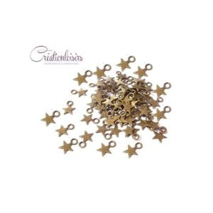 Perles Breloques bronze - 300 Breloques étoile couleur br